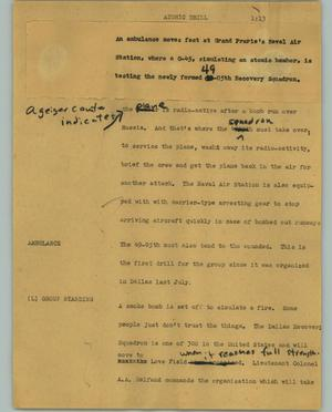 Primary view of object titled '[News Script: Atomic drill]'.