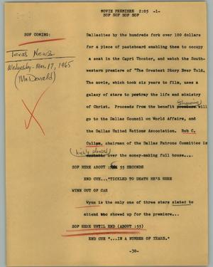 Primary view of object titled '[News Script: Movie premiere]'.