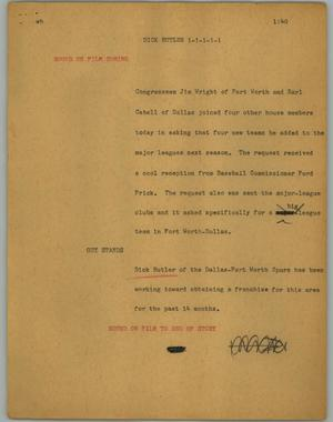 Primary view of object titled '[News Script: Dick Butler]'.