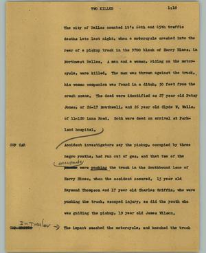 Primary view of object titled '[News Script: Two killed]'.