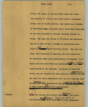 Primary view of object titled '[News Script: Helen Hayes]'.