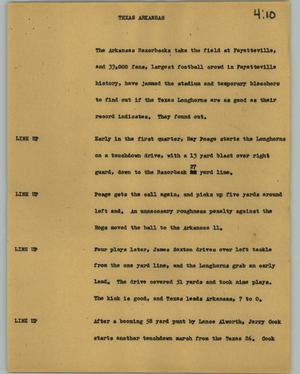Primary view of object titled '[News Script: Texas Arkansas]'.