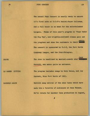 Primary view of object titled '[News Script: Pops concert]'.