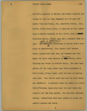 Primary view of object titled '[News Script: Mystery blind woman]'.