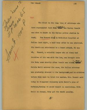 Primary view of object titled '[News Script: Tom Howard]'.
