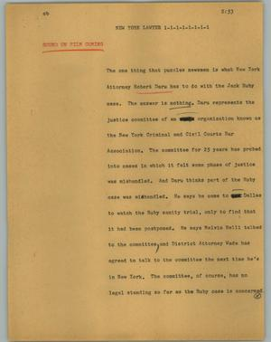 Primary view of object titled '[News Script: New York Lawyer]'.
