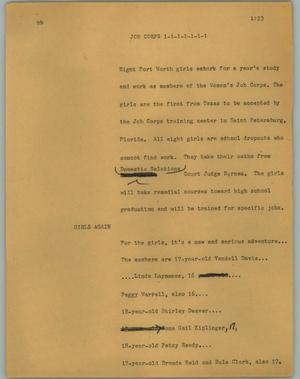 Primary view of object titled '[News Script: Job corps]'.