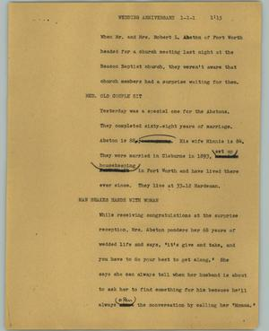 Primary view of object titled '[News Script: Wedding anniversary]'.