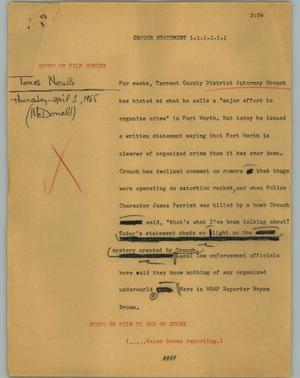 Primary view of object titled '[News Script: Crouch statement]'.
