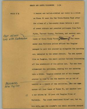 Primary view of object titled '[News Script: Chase and asstd violences]'.