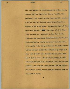 Primary view of object titled '[News Script: Ponies]'.
