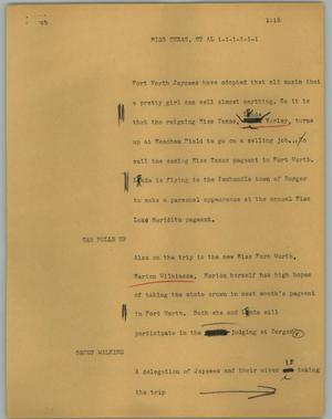 Primary view of object titled '[News Script: Miss Texas, et al]'.