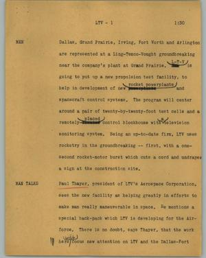 Primary view of object titled '[News Script: LTV]'.