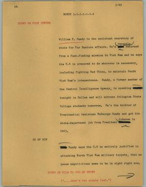 Primary view of object titled '[News Script: Bundy]'.