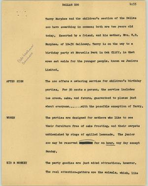 Primary view of object titled '[News Script: Dallas zoo]'.
