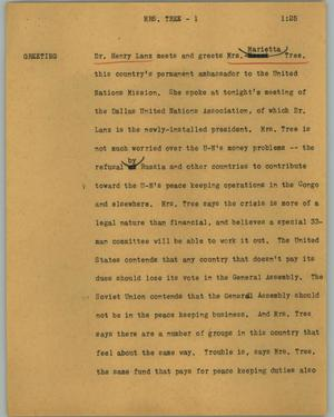 Primary view of object titled '[News Script: Mrs. Tree]'.