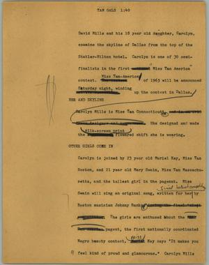 Primary view of object titled '[News Script: Tan gals]'.