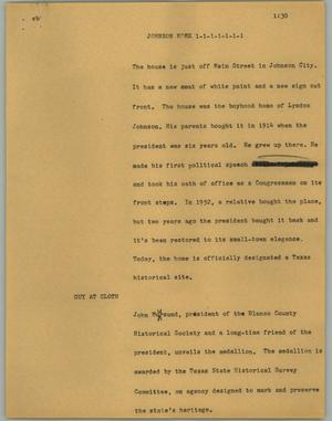 Primary view of object titled '[News Script: Johnson home]'.