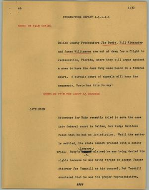 Primary view of object titled '[News Script: Prosecutors depart]'.