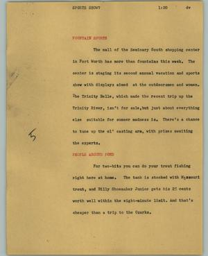 Primary view of object titled '[News Script: Sports show?]'.