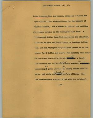 Primary view of object titled '[News Script: Sub Court Hourse]'.