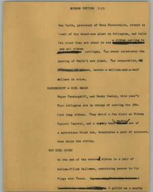 Primary view of object titled '[News Script: Ribbon cutting]'.