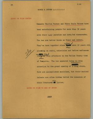 Primary view of object titled '[News Script: Homer & Jethro]'.