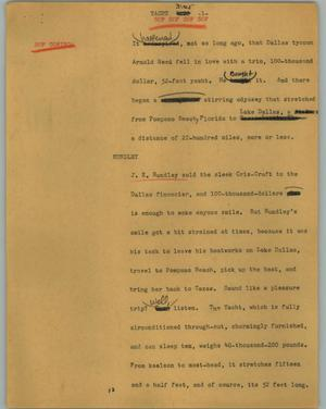 Primary view of object titled '[News Script: Yacht]'.