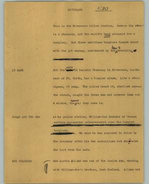 Primary view of object titled '[News Script: Riveroaks]'.