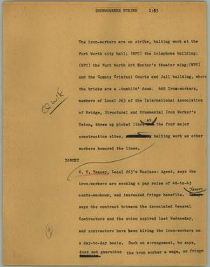 Primary view of object titled '[News Script: Ironworkers strike]'.
