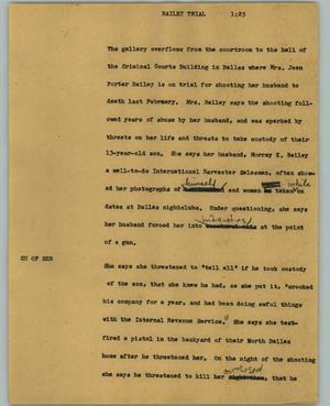 Primary view of object titled '[News Script: Bailey trial]'.