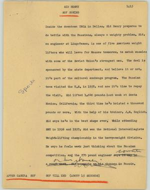 Primary view of object titled '[News Script: Sed Henry]'.