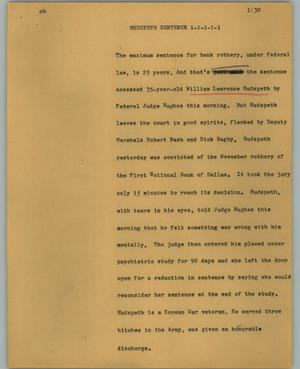 Primary view of object titled '[News Script: Hudspeth sentence]'.