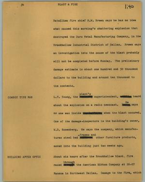 Primary view of object titled '[News Script: Blast and fire]'.