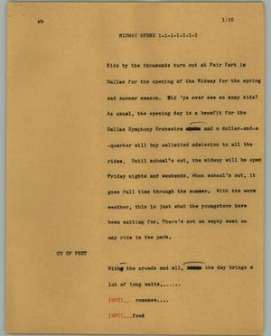 Primary view of object titled '[News Script: Midway opens]'.