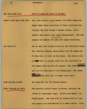 Primary view of object titled '[News Script: Fraternity]'.