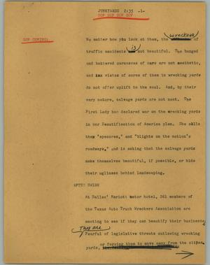 Primary view of object titled '[News Script: Junkyard]'.