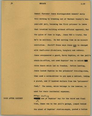 Primary view of object titled '[News Script: Escape]'.