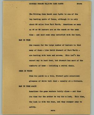 Primary view of object titled '[News Script: Hunters throng Walking Cane Rance]'.