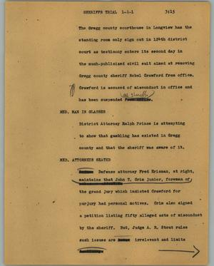 Primary view of object titled '[News Script: Sheriff trial]'.