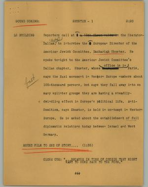 Primary view of object titled '[News Script: Shuster]'.