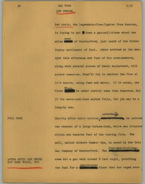 Primary view of object titled '[News Script: Gas fire]'.