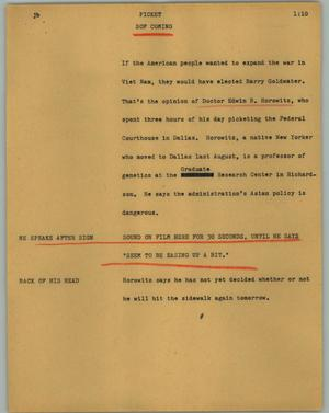 Primary view of object titled '[News Script: Picket]'.