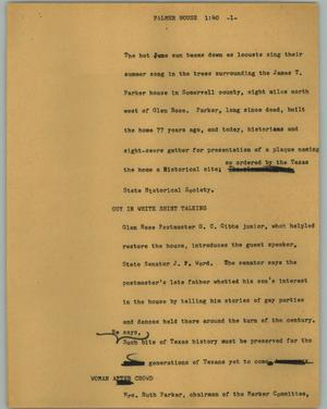 Primary view of object titled '[News Script: Palmer house]'.