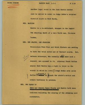 Primary view of object titled '[News Script: Mackin case]'.