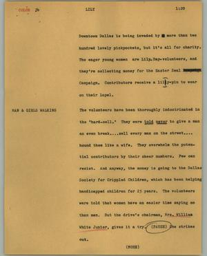 Primary view of object titled '[News Script: Lily]'.