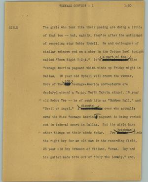 Primary view of object titled '[News Script: Teenage contest]'.