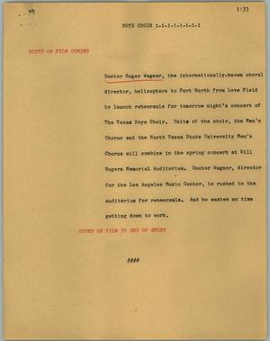 Primary view of object titled '[News Script: Boys choir]'.