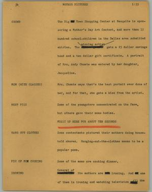 Primary view of object titled '[News Script: Mother pictures]'.