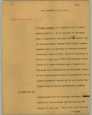 Primary view of object titled '[News Script: Jap dignitary]'.